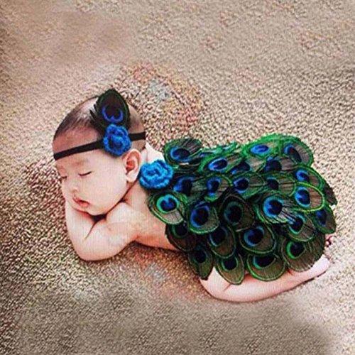 ZEARO Foto Fotografie Prop Neugeborenen Baby Kostüm Pfau Stricken Handarbeit Outfit Klettern Kleidung Fotoshooting (Pfau Kostüme Für Baby)