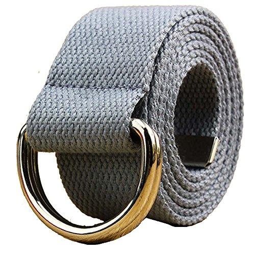 liqy Unisex Leinwand Gurtband Doppel-D Ring Buckle Gürtel Lang, Jeans Gürtel für Männer und Frauen 109,2cm-55