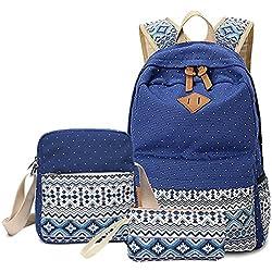 Vezela® Set of 3 Casual Lightweight Canvas Laptop Bag - Blue Color Laptop Bag in Backpack for School/Collage