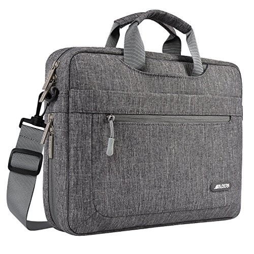 MOSISO Umhängetasche/Laptoptasche Kompatibel 15-15,6 Zoll 2018/2017/2016 Neu MacBook Pro (A1990/A1707), Auch Kompatibel 14 Zoll Laptop, Polyester Bag mit Verstellbarer Tiefe an der Unterseite, Grau