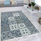 Paco Home Wohnzimmer Teppich Orient Muster Indigo Blau Weiß Grau Kurzflor Eyecatcher, Grösse:160x230 cm