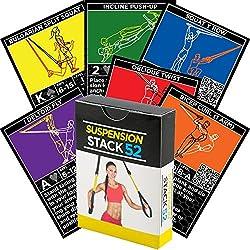 Cartes d'exercices avec suspension de Stack 52. Pour TRX et autres entraîneurs similaires. Jeu d'entraînement suspendu de résistance au poids corporel. Instructions vidéo incluses.