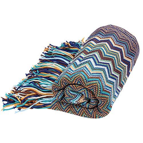 Calda coperta in stile bohémien, ideale come copriletto, copridivano o copripoltrona, in morbido cotone, 130 x 160 cm Blue