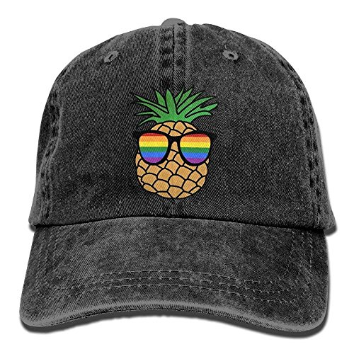 Baseballkappe, Gay Pride Pineapple Cotton Denim Baseball Cap Adjustable Topee for Men Women ()