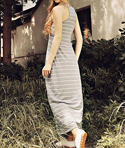 Femme Robe Longue IHRKleid® Plage Robe Sans Manches Stripe Gris