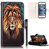 BtDuck Leather Case for Apple iPhone 5 / 5S / SE Embossed Oil Painting Male Lion Powerful Eyes King Style ( Give a gift to the leader ) Stand Painted pattern Phone Protector PU Leather Flip Folio Cover Anti-slip Skin Outdoor Protection Simple Strict Shockproof Heavy Duty Robust Bumper Case Shell with Stander Oyster Card ( Travel Card Bus Pass)Holder Slots Pocket Kickstand Function Magnetic Closure + 1 * Black Stylus Pen Black Look Up Put down the phone