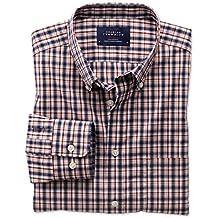 Bügelfreies Extra Slim Fit Hemd aus Popeline in blau und orange mit Karos