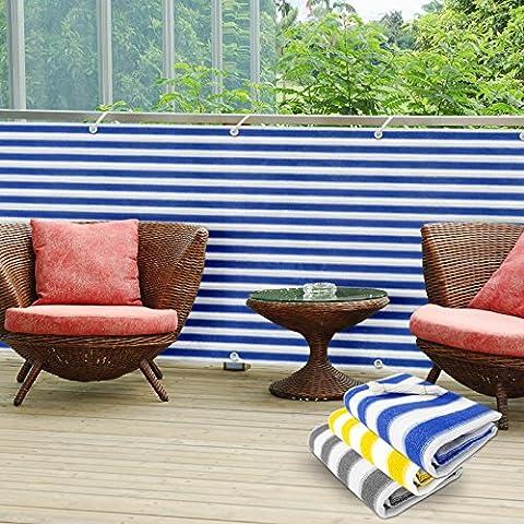 casa pura PVC Balcony Screening Cover, 90 x 500 cm - Blue/White   3 Colours Available - Protective Screen