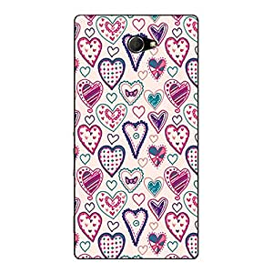 Jugaaduu Hearts Back Cover Case For Sony Xperia M2 Dual