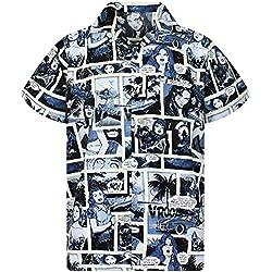 Funky Camisa Hawaiana, Comic, monoblack, L