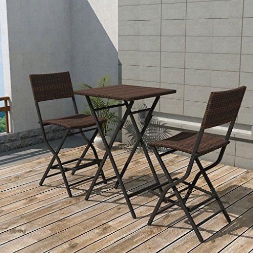 Lingjiushopping Set de table et chaises hautes de jard š ªn 3 pièces poli Rat š ¢ n m š ® n dimensions de la table : 60 x 60 x 101 cm (longueur x largeur x hauteur)