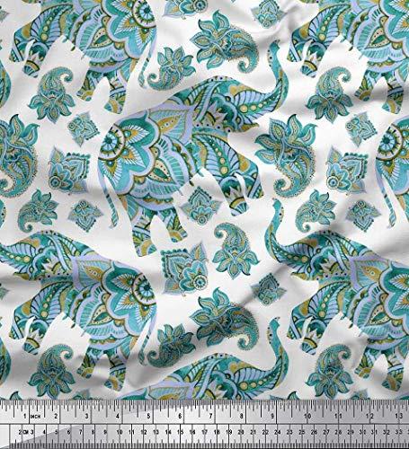 Soimoi Blau Baumwoll-Voile Stoff Paisley & Stammes-Elefant Tier gedruckt Craft Fabric 1 Meter 42 Zoll breit - Voile Paisley