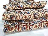 #7: Handicraftofpinkcity Indian Hand Block Print Fabric Sanganeri Handmade Handmade Cotton Fabric 2.5 Meter Indigo Blue Fabric