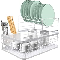 Égouttoir à Vaisselle Cuisine à 2 étages en Métal, 42x30x28cm Sechoir Vaisselle avec Égouttoir Amovible, Support à…