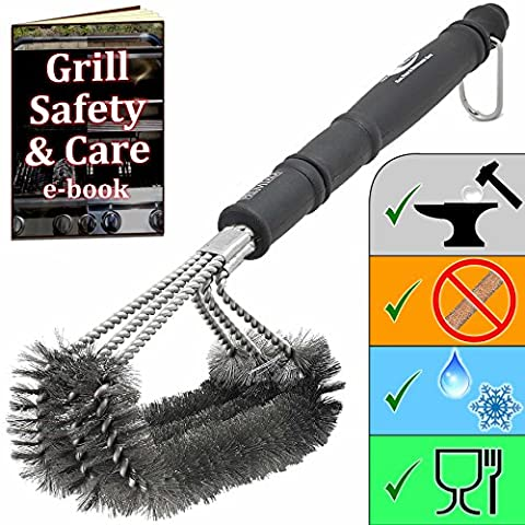 Premium BBQ Grill Brush - 100% stainless steel - keeps