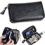 Semoss Multifunktionale Schlüsselmäppchen Leder Schlüsseletui Schlüssel Hülle Auto für Damen und Herren Schlüsselanhänger Tasche Schwarz