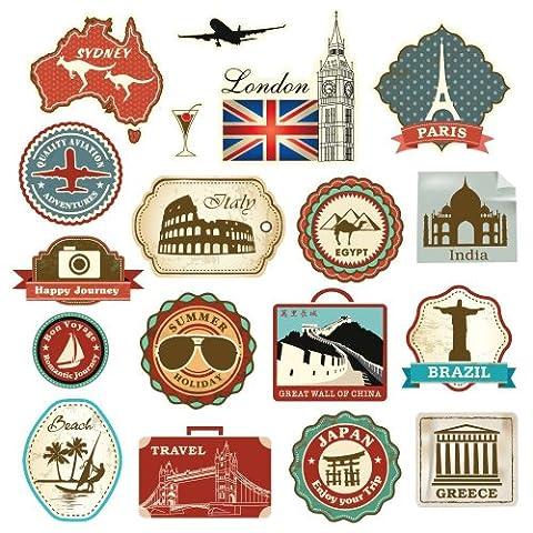 Supertogether 1-Piece 18 Retro Vintage Travel Suitcase Stickers Regular, Multi-Color