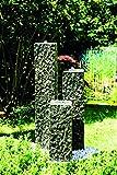Köhko Springbrunnen Lilienstein 3-teiliger Komplett-Set 40-60-80 cm inkl. LED-Beleuchtung Gartenbrunnen aus Polyresin in Natursteinoptik