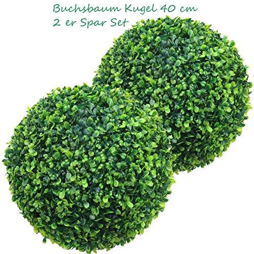 2 x 38 cm Ø künstliche Buchsbaumkugeln, 2 Stück-Spar-Set