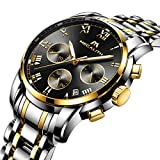 Orologio Uomo Acciaio Inox Orologio Bracciale da Uomo Impermeabile Cronografo Data Calendario Lusso Analogico al Quarzo Cronometro da Polso Business Casuale con Quadrante Nero Cinturino Oro Argento