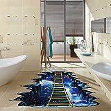 ksruee 60 * 90 CM Amovible Univers Universel Planète Suspension Pont Motif 3D PVC Autocollant Mural Plancher Autocollant Décoration Peinture Pour Chambre