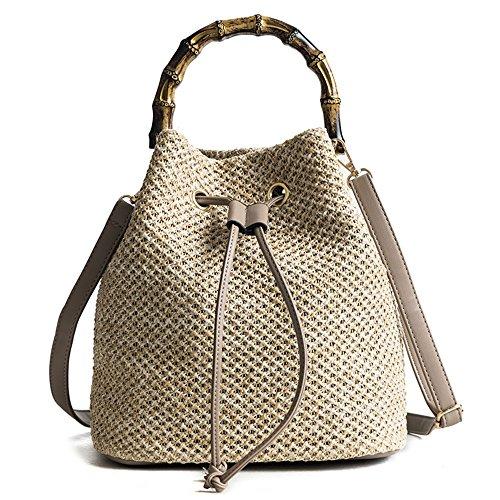 JUND 2018 Sommer Neu Henkel Gehäkelt Beutel Mode Lässig Umhängetasche Elegant Einfarbig Bambus Messenger Bag - Gehäkelte Beutel