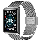 Fitness Tracker - Reloj Inteligente con medidor de presión Arterial y podómetro, Impermeable, Contador de calorías