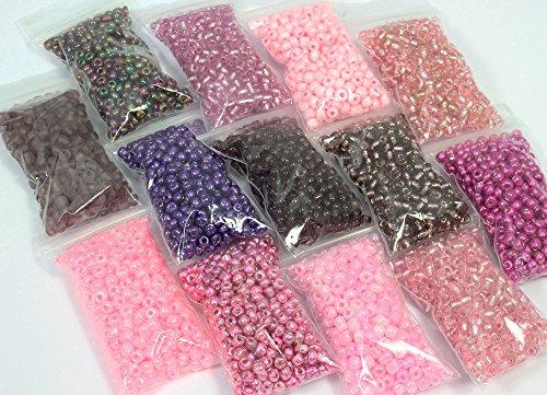 Glas mit Rocailleperlen - Größe 6 - Filterbeutel 25 Gramm - Spezielle Anfertigung Buy - 10 Tüten in lila Farbmix