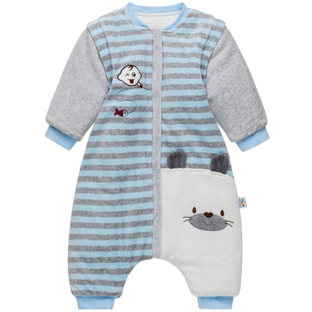 Bebé Saco de Dormir con Piernas Separable Algodón 3.5 Tog Invierno Bolsa de Dormir Mangas Larga Extraíbles para Niños…