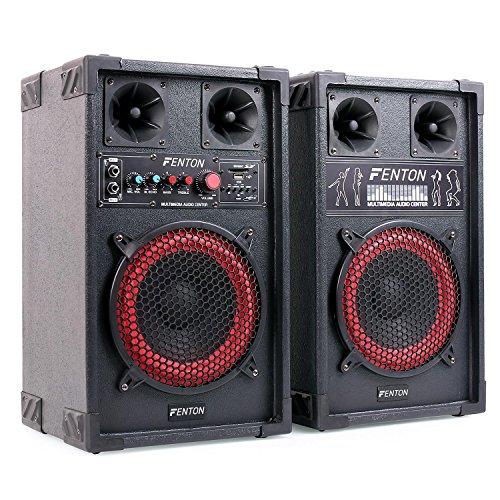 Fenton SPB-8 Coppia Altoparlanti PA attivi / passivi (subwoofer da 8 pollici, 400 Watt di potenza massima, ingressi USB e SD, lettura MP3, bass reflex, 2 ingressi microfono) - nero