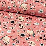 Jersey Stoff Vögel & Blümchen rosa - Preis gilt für 0,5 Meter -