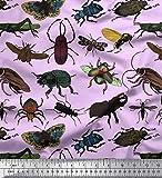 Soimoi Lila Seide Stoff Käfer, Schmetterling & Honigbiene