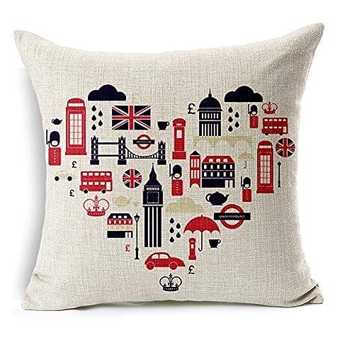 SilkCrane Housse de Coussin, London British Heart Print Cotton Linen Decorative Throw Pillow Case Cushion Cover, 17.7