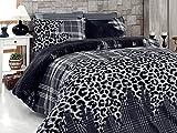 Akhome 6 TLG Bettwäsche Bettgarnitur Bettbezug 100% Baumwolle Kissen Decke 220x240 cm Leopard Schwarz