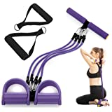 gracosy Bauchtrainer Upgrade 4 Tubes Pedal Resistance Band Elastisches Sit-up Pull Rope Bodybuilding Expander Multifunktions-