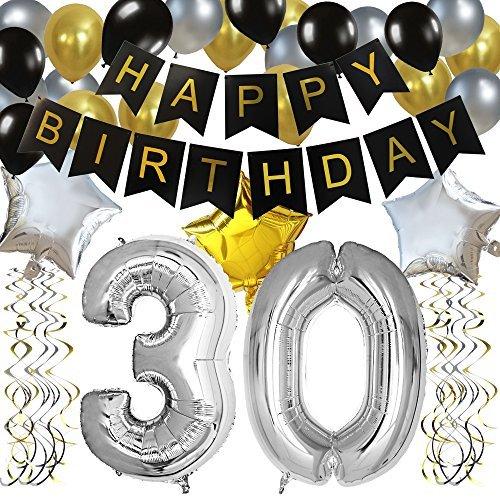KUNGYO Classy Zum 30. Geburtstag Party Dekorationen Satz- Schwarz Happy Birthday Banner,FolienBallon Zahl 30 in Silber-XXL Riesenzahl 100cm, Star & Latex Ballon,Hängende Wirbel -