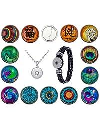 Morella Click-Button Sets Knöpfe Klicks 18 mm oder 20 mm Durchmesser mit Halskette Armband Glitzer Strass Steine