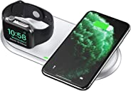 CHOETECH 2 in 1 Wireless Charger, [MFI] Qi wireless Charging Pad Compatible with iWatch Series 1/2/3/4/5, iPhone 11/11 Pro M