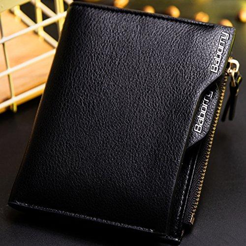 Baborry-Rfid Blockierung Herren Brieftasche Mit Reißverschluss Münztasche Movable ID Karte Halter Schwarz schwarz
