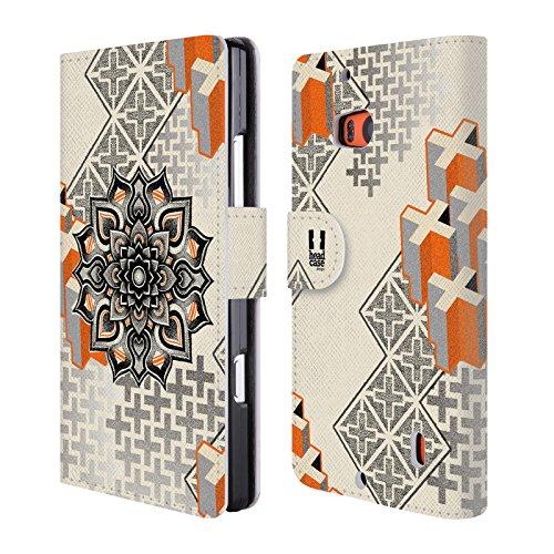Head Case Designs Mandala E Croce Arte Puntiforme 2 Cover telefono a portafoglio in pelle per Nokia Lumia Icon / 929 / 930 - Croce Cucita Arte
