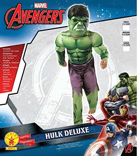 Image of Rubie's Official Deluxe Incredible Hulk Boys Fancy Dress Kids Marvel Superhero Childrens Costume Medium Ages 5 -6