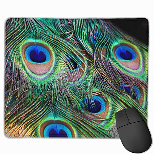 ASKSSD Mouse Pad Colorful Peacock Feathers Rectangle Non-Slip 9.8in11.8 in Personalized Designs Gaming Rubber Mousepad Stitched Edges Mouse Mat (Billig Peacock Feathers)