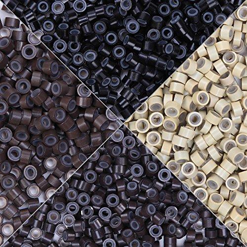 Micro Ring Silicone Micro Anello Nano Rings per Extension Capelli Veri Cheratina I Tip Hair Extensions Set da 500PCS Marrone Scuro