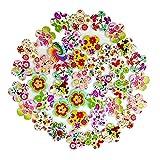 originaltree 100PCS Holz Knöpfe Blumen 2Löcher DIY Handwerk Nähen Zubehör, holz, Zufällige Farbauswahl, Einheitsgröße