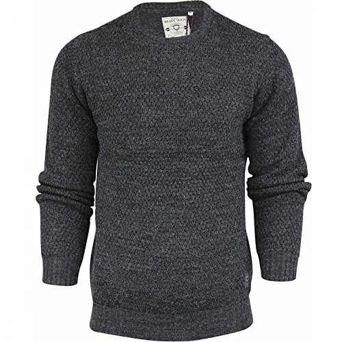 Brave Soul Mens High Quality 'Chunky Cable Knit' Jumper Pullover Winter Sweater Small Dark Grey