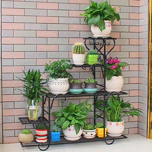 JXXQD Schmiedeeisen-Blumen-Stand Mehrschicht-Innenblumen-Regal-Balkon-Wohnzimmer Stehendes saftiges Blumen-Topf-Gestell (Farbe : Black, Größe : L)