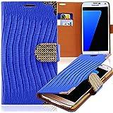 Luxus Strass Handy Tasche Schutz Hülle für Samsung i9500 i9505 Galaxy S4 SIV Blau Book-Style Leder Etui Glitzer Case Cover Bag