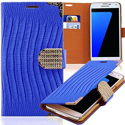 Luxus Strass Handy Tasche Schutz Hülle für Samsung Galaxy Note Edge SM-N915F Blau Book-Style Leder Etui Glitzer Case Cover Bag