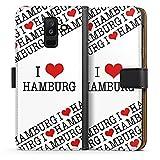 DeinDesign Samsung Galaxy A6 Plus Tasche Leder Flip Case Hülle Hamburg Herz Heart