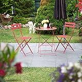 Relaxdays Bistrotisch mit 2 Stühlen, Klappbar, Rund 60x60 cm, Metall, Outdoor, Garten Bistroset 3 Teilig, Wetterfest, Rot